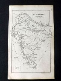 Cornwell & Dower 1849 Antique Map. Hindostan. India